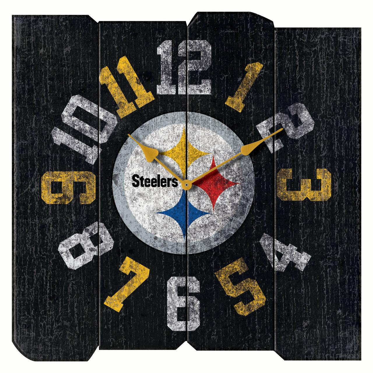 "Pittsburgh Steelers 16"" Vintage Sqaure Wall Clock - Black - No Size"