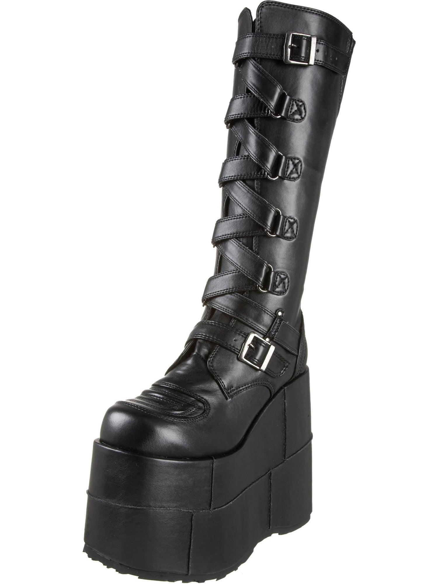 Boots Platform Shoe Zip-Zag Strap Black