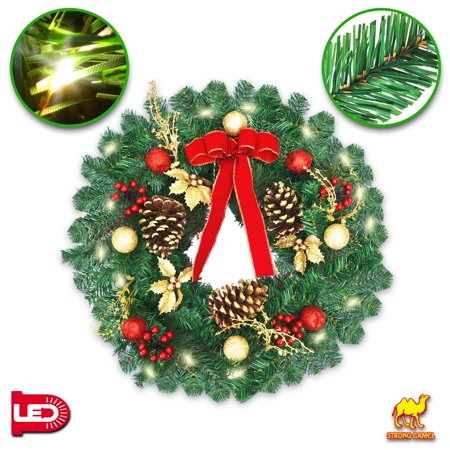 """Strong Camel 24"""" Christmas Wreath Pre-lit Decorated Pine Artificial Wreath with 20 LED Lights - Walmart.com"""