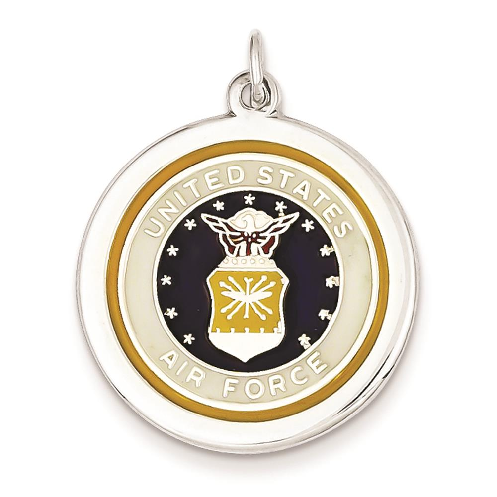 925 Sterling Silver Polished Enameled US Air Force Logo Round Disc Charm Pendant