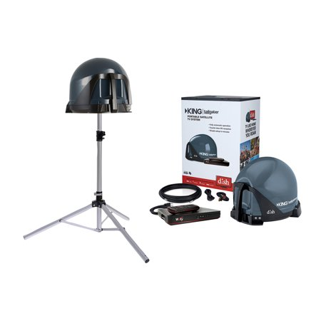 King VQ4550 Tailgater Bundle with BONUS Tripod - Portable Satellite TV Antenna, DISH Wally HD Receiver & TR1000 Tripod for RVs, Trucks, Tailgating, Camping and