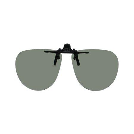 Aviator Clip (Polarized Clip-on Flip-up Plastic Sunglasses - Medium Aviator - 54mm Wide X 48mm High (122mm Wide) - Polarized Grey Lens)