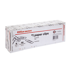 Office Depot® Brand Paper Clips, No. 1 Regular, Silver, 100 Clips Per Box, Pack Of 10 Boxes