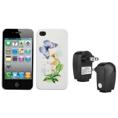 Insten Indigo Butterfly Back Case For Apple iPhone 4 4S + USB Travel Charger Adapter