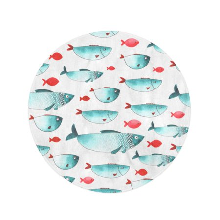 JSDART 60 inch Round Beach Towel Blanket Watercolor Pattern Funny Fishes All Object Each One is Travel Circle Circular Towels Mat Tapestry Beach Throw - image 2 of 2
