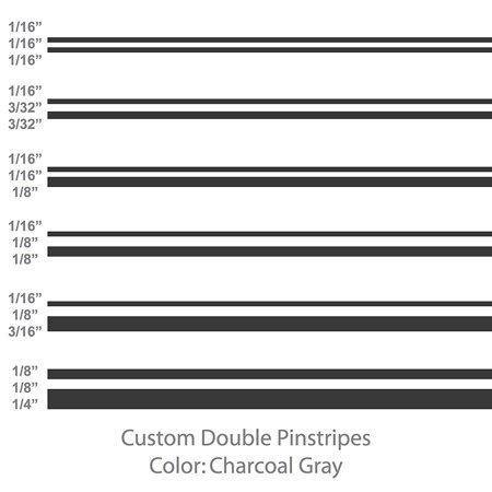 Pinstripes Car Graphics - Double Pinstripes (Charcoal Gray) Size:1/16
