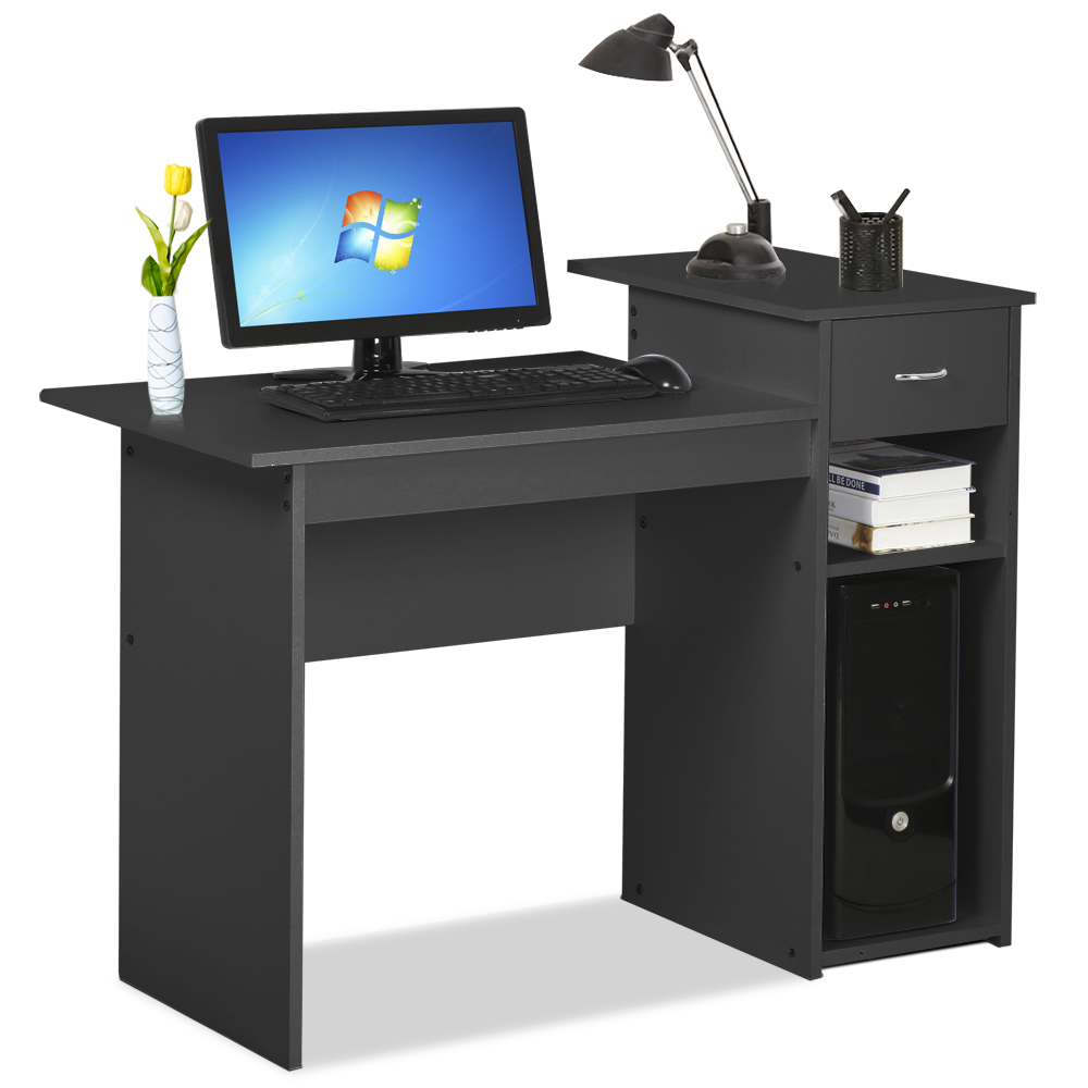 Small Spaces Home Office Black Computer Desk with Drawers and 2 Tier Storage Shelves Furniture