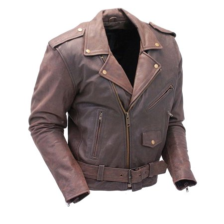 Rich Brown Genuine Leather Jacket for Men #M38ZN