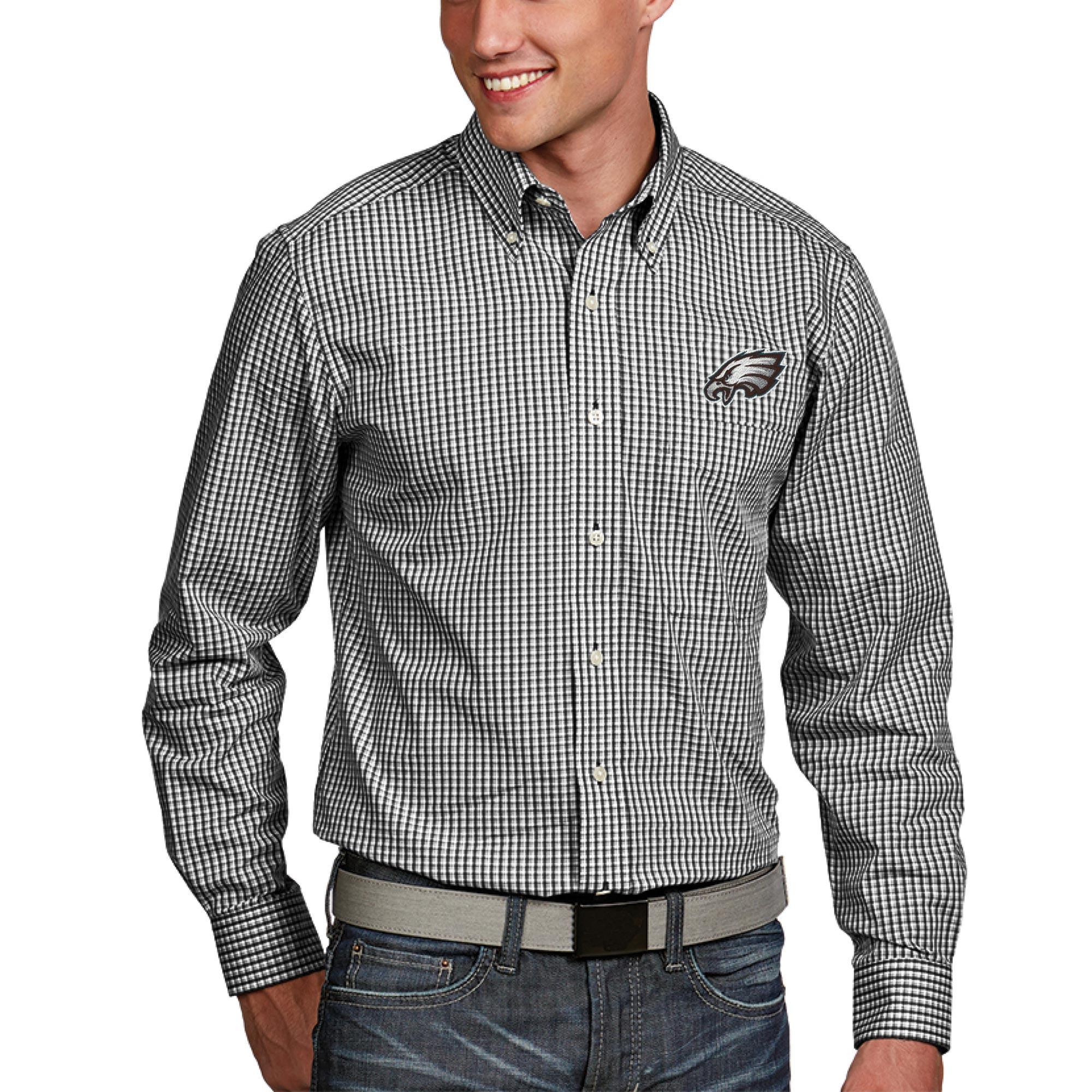 Philadelphia Eagles Antigua Associate Woven Long Sleeve Button-Down Shirt - Black