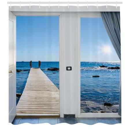 beach shower curtain, coastal theme with the ocean sea