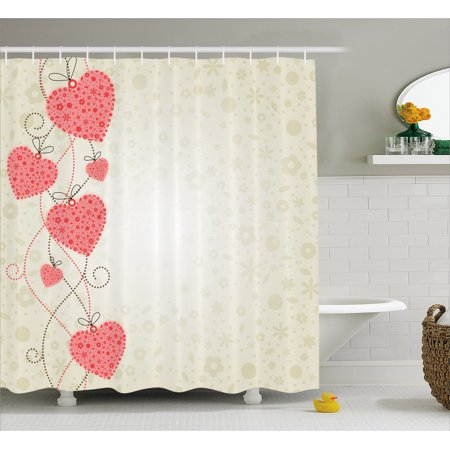 Romantic Shower Curtain, Abstract Motifs Filled Background and Heart Shapes Hanging from Dotted Lines, Fabric Bathroom Set with Hooks, 69W X 70L Inches, Coral Beige, by Ambesonne - Heart Shower Curtain