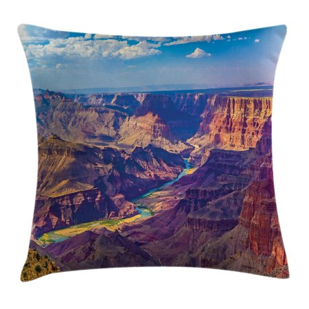 House Decor Throw Pillow Cushion Cover, Aerial View of Epic Grand Canyon Activity of River Stream over Rock Plateau Print, Decorative Square Accent Pillow Case, 16 X 16 Inches, Blue Tan, by