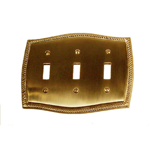 BRASS Accents Rope Triple Switch Wall Plate (Set of 2)