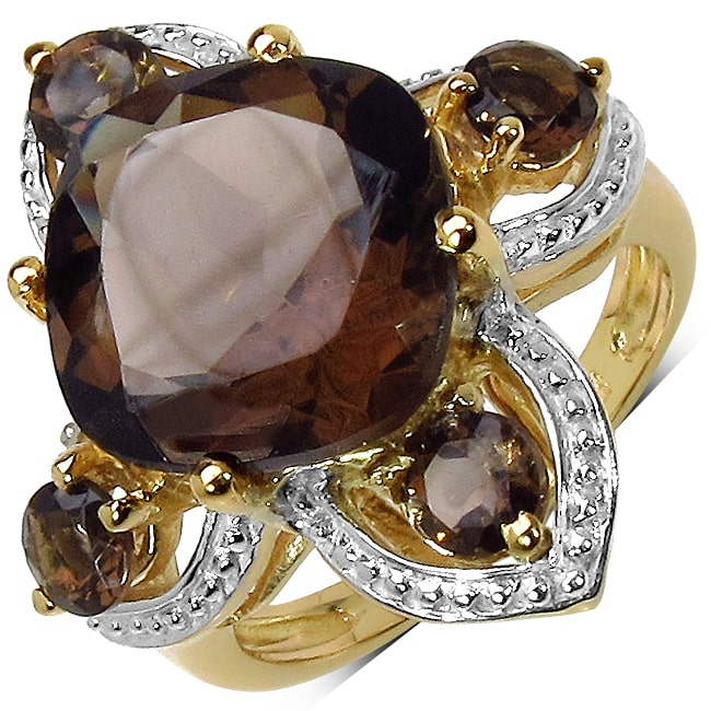 Malaika  Yellow Gold overlay Sterling Silver Smoky Quartz Ring