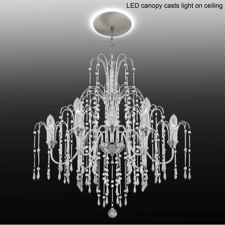 "Vienna Full Spectrum Crystal Rain 29""W 6-Light Crystal Chandelier with LED Canopy"