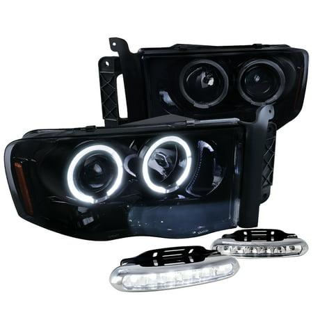 Spec-D Tuning For 2002-2005 Dodge Ram Halo Led Glossy Black Projector Headlights + Led Bumper Fog Lamps (Left + Right) 2002 2003 2004 2005 (2005 Dodge Ram Chrome Bumper)