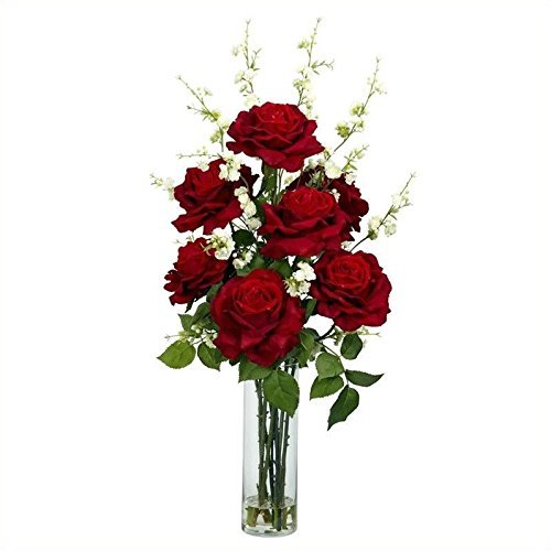 Nearly Natural Roses ; Cherry Blossoms Silk Flower Arrang...