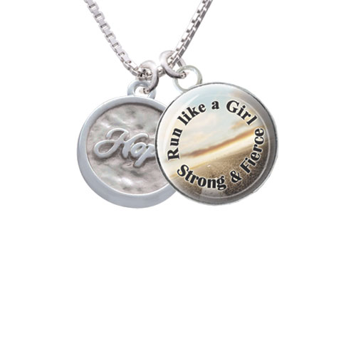 "Hope - Round Seal Run Like a Girl Glass Dome Necklace, 18""+2"""