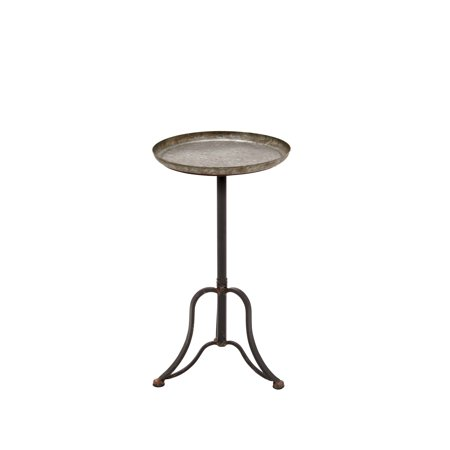 - Decmode 27 Inch Farmhouse Round Metal Tray Table, Nickel