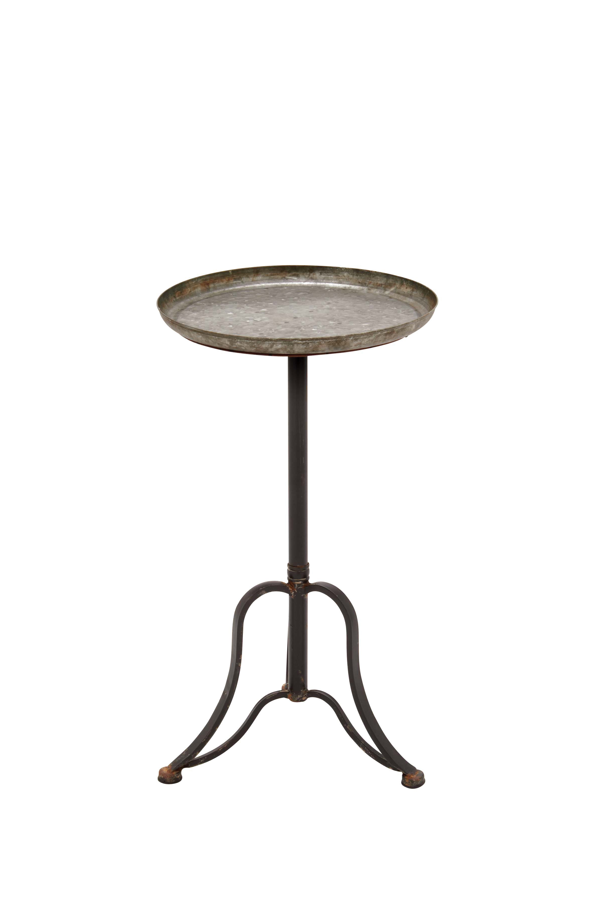 Decmode 27 Inch Farmhouse Round Metal Tray Table, Nickel