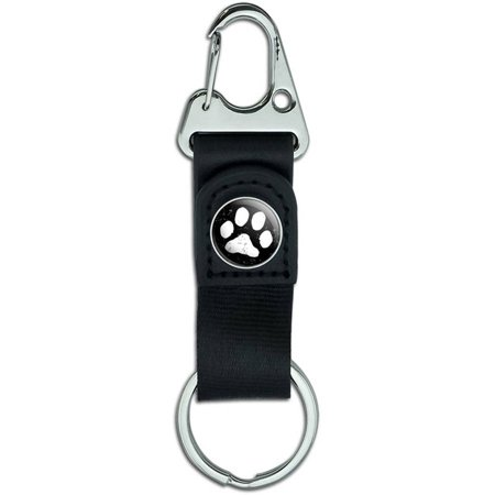 Black White Distressed Belt Clip On Carabiner Leather Keychain Fabric Key