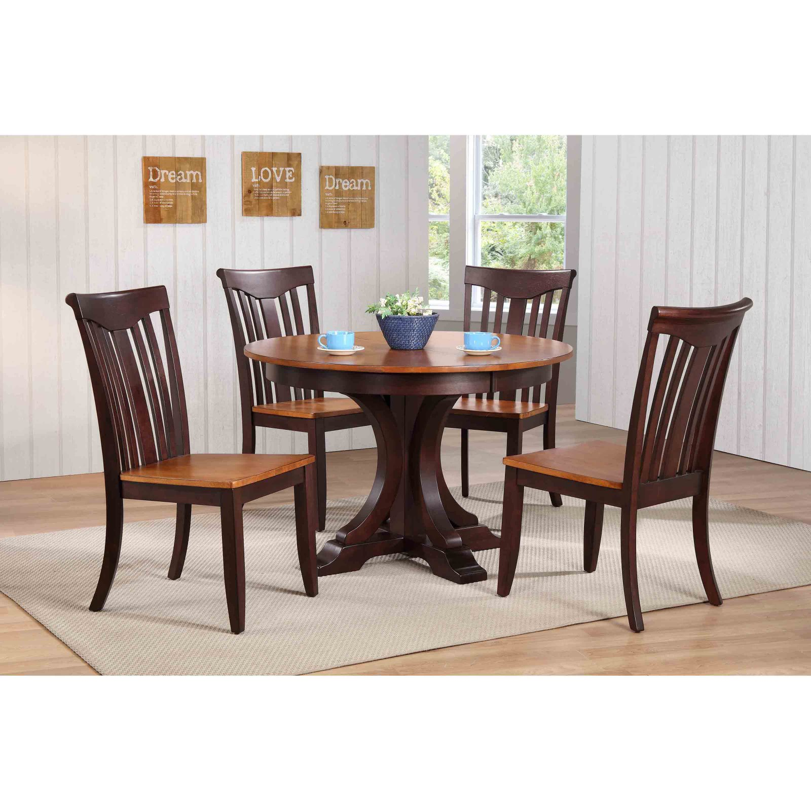 Iconic Furniture Deco 45 in. Slat Back 5 Piece Round Dining Table Set