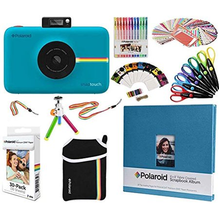 Epoxy Stickers Photo Gems - Polaroid Snap Touch Instant Camera Gift Bundle + ZINK Paper (30 Sheets) + 8x8 Cloth Scrapbook +  Pouch + 6 Edged Scissors + 100 Sticker Border Frames + Gel Pens + Hanging Frames + Accessories