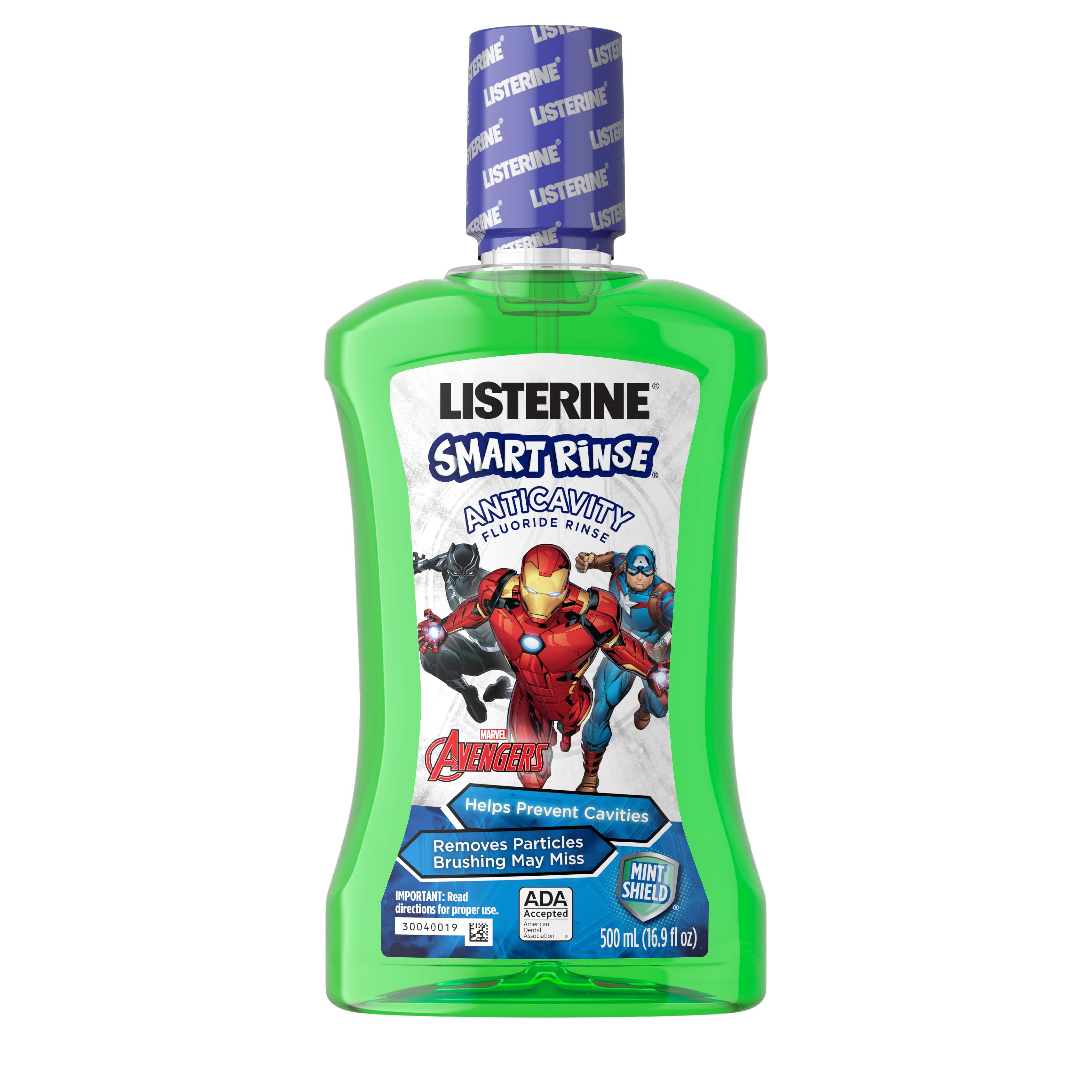 Listerine Smart Rinse Kids Alcohol-Free Mouthwash, Mint, 500 mL