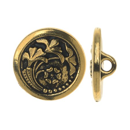 TierraCast Pewter, Circle Button with Flower Motif 17mm, 1 Piece, Gold