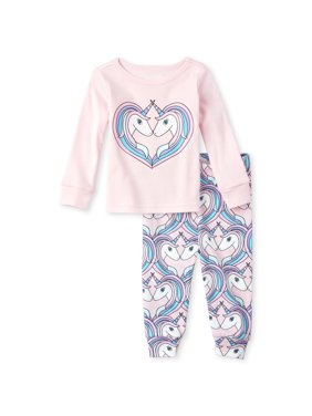 The Children's Place Baby & Toddler Girl Long Sleeve Unicorn Heart Pajamas, 2-Piece Set