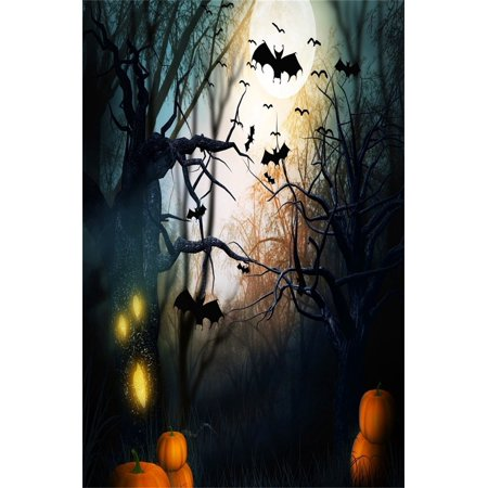 HelloDecor Polyester 5x7ft Photography Studio Backdrops Girl Toddler Photo Shoot Background Halloween Scary Forest Monster Tree Horrible Bat Pumpkin Gloomy Moon](Halloween Baby Photo Shoot Ideas)