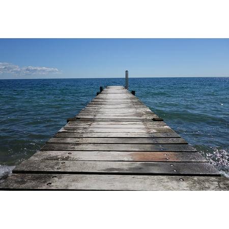 Canvas Print Boardwalk Blue Sky Web Sea Baltic Sea Stretched Canvas 10 x