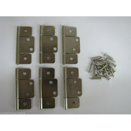 Mobile Home RV Parts Interior Door Hinges Package of 6 Non-mortise Satin (Nickel Mortise Hinge)