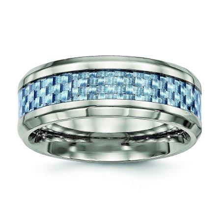 Titanium Polished Blue Carbon Fiber Inlay Ring Size 7.5 - image 3 of 3