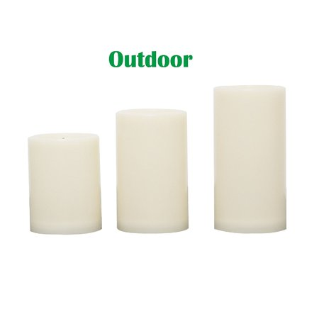 """Candle Choice 3 PCS Outdoor Flameless Candles with Timer, Realistic Flickering LED Pillar Candles, Weatherproof Battery Operated Candles, Long Battery Life 1500+ Hours, Even Edge 3""""x4"""", 5"""", 6""""](Battery Candles)"""
