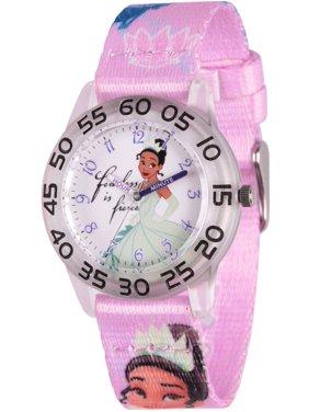 Princess Tiana Girls' Clear Plastic Time Teacher Watch, Purple Fabric Strap