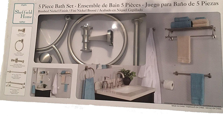 Sheffield Home 5 Piece Bath Set Brushed Nickel Finish New