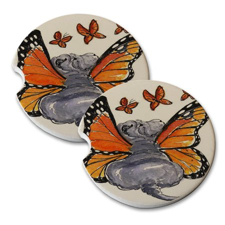 KuzmarK Sandstone Car Drink Coaster (set of 2) - Blue Chinese Shar-Pei Puppy Monarch Butterfly Fairy Dog Art by Denise Every