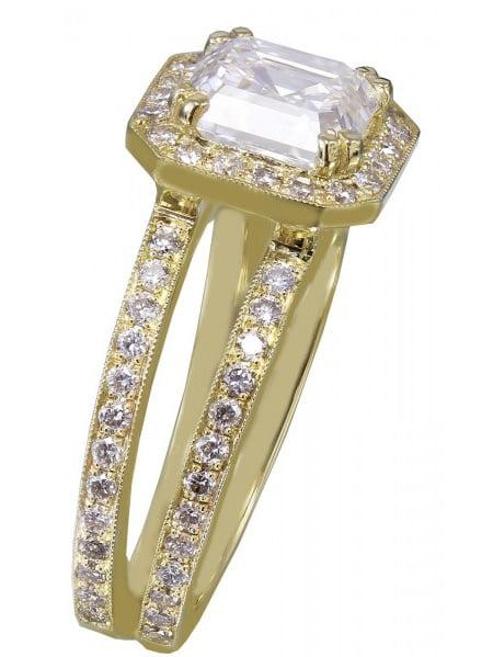 18k Yellow Gold Asscher Cut Diamond Engagement Ring Halo 2.70ctw H-VS2 EGL USA by KNR INC