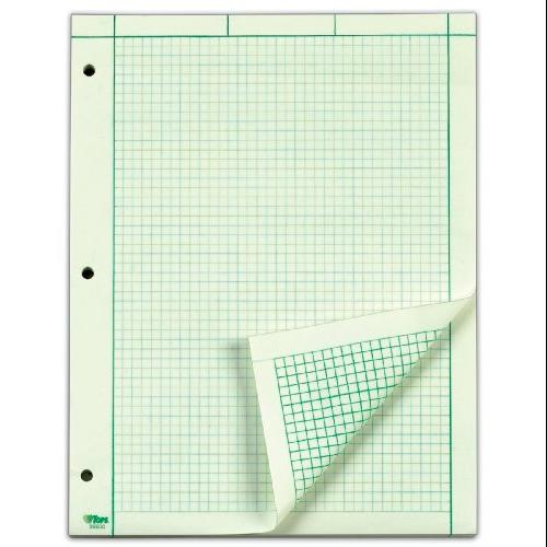 "Tops Engineering Computation Pad - 50 Sheet - 15 Lb - Ruled - Letter 8.50"" X 11"" - 200 / Pad - Green Paper (TOP35502)"