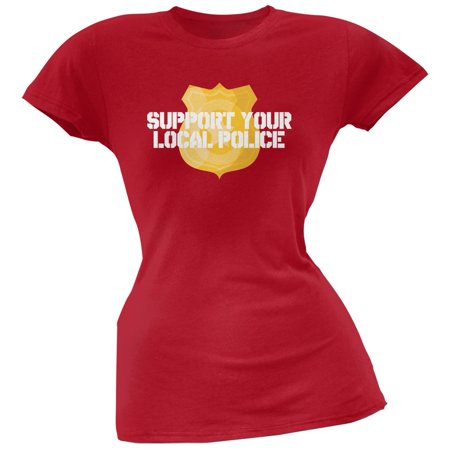 Support Your Local Police Gold Badge Red Soft Juniors T-Shirt - Medium