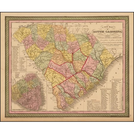 LAMINATED POSTER A New Map of South Carolina with Its Canals, Roads & Distances from place to place along the Stage & Steam Boat Routes (Charleston inset) POSTER PRINT 24 x 36