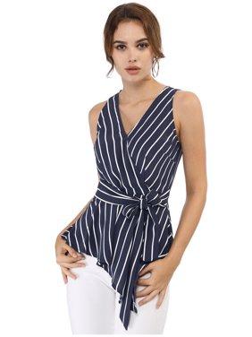 Women's Striped Sleeveless V Neck Wrap Tie Waist Tops M Red Flower