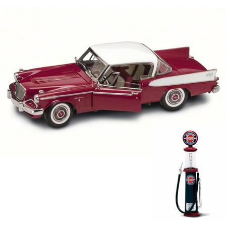 Diecast Car & Gas Pump Package - 1958 Studebaker Golden Hawk, Claret - Road Signature 20018BG - 1/18 Scale Diecast Model Toy Car w/Gas Pump