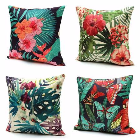 Tropical Plant Flamingo Throw Pillow Cushion Cover ,18''x18'' Cotton Linen Back Waist PillowCase Standard Decorative Pillowslip Pillow Protector Case for Sofa Couch Chair Car Sea
