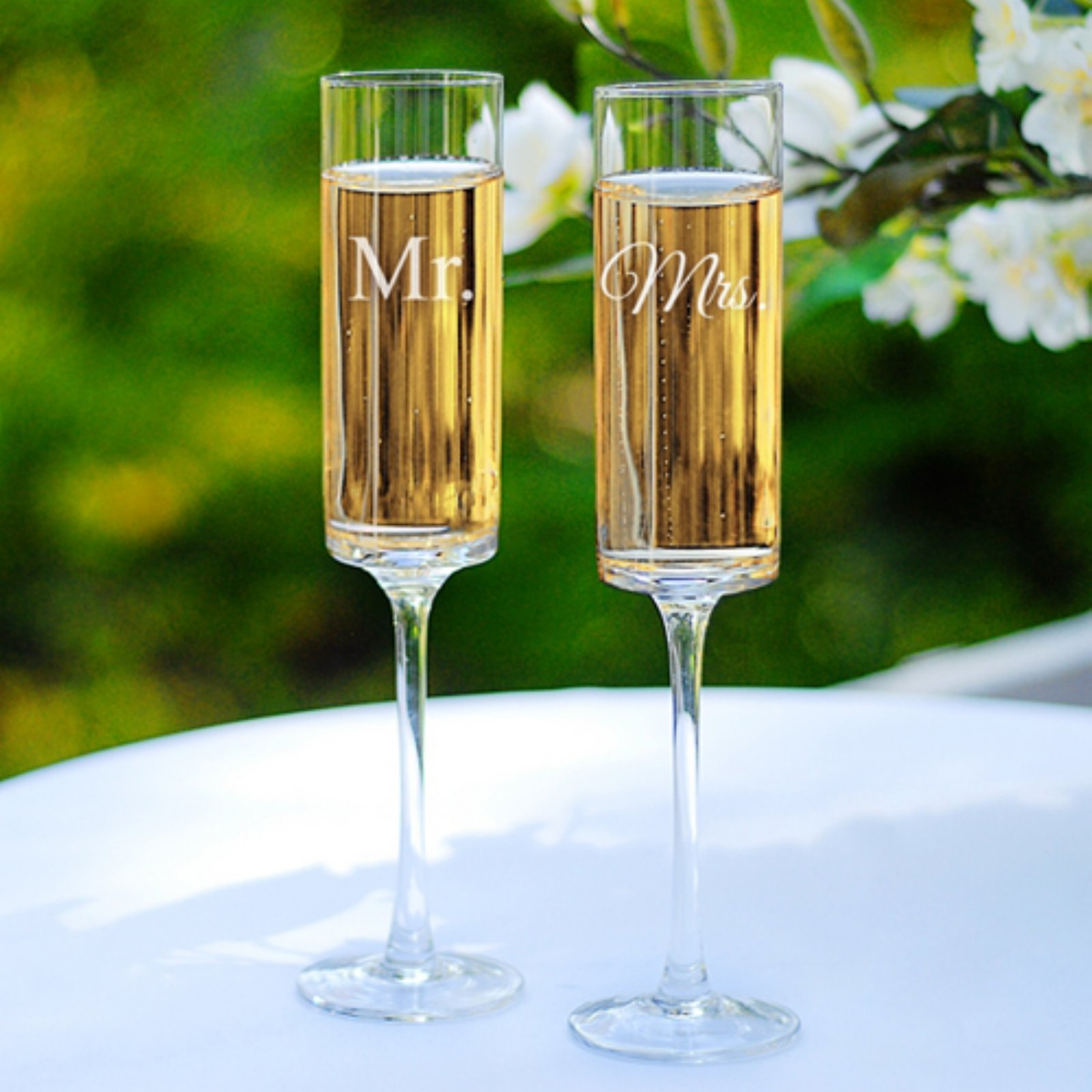 Cathys Concepts Mr. & Mrs. Contemporary Champagne Flutes