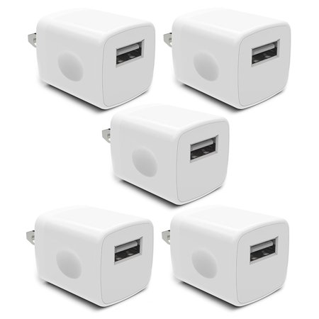 Wall Charger, Universal USB Port Power Portable Adapter AC 5W Home Charger for iPhone 7 SE 6S/6S Plus/6/6 Plus/5S, Samsung, Android, Windows Smart Phone, Power Bank and More USB Devices (5