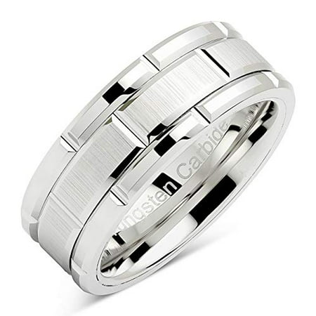 Tungsten Rings For Men Wedding Band White Gold Brick Pattern Rhodium Plated Sizes (Best Price White Gold Wedding Rings)