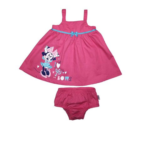 Disney Infant Girls Pink Cotton Minnie Mouse Sundress Bows Baby Dress](Minnie Mouse Baby Dresses)