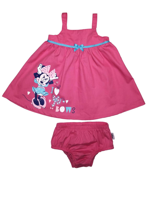 Disney Infant Girls Pink Cotton Minnie Mouse Sundress Bows Baby Dress